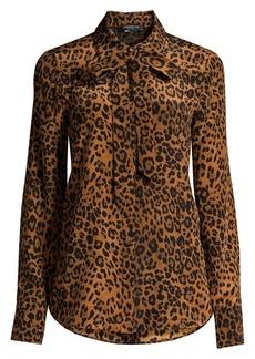 Lafayette 148 Diana Silk Leopard-Print Blouse
