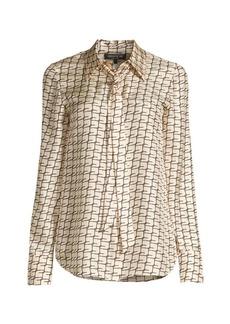 Lafayette 148 Diana Tie-Neck Silk Blouse