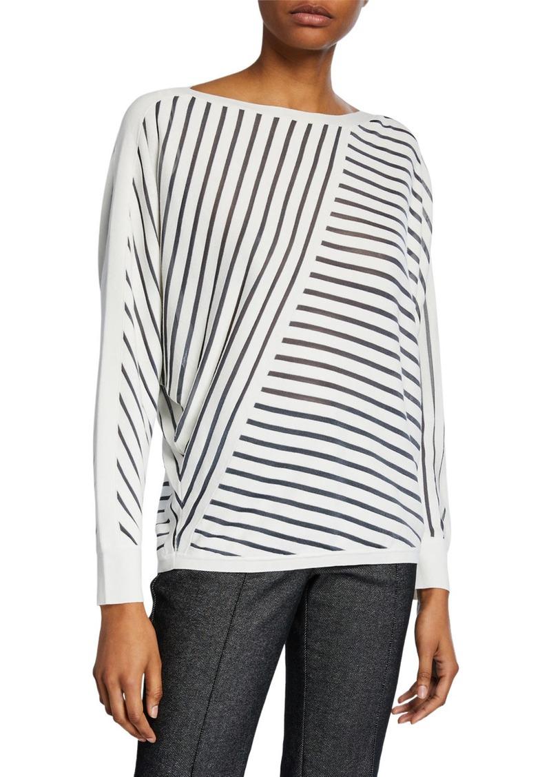 Lafayette 148 Directional Striped Dolman-Sleeve Sweater