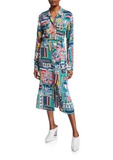 Lafayette 148 Doha Palazzo Patchwork-Printed Long-Sleeve Crepe Shirtdress