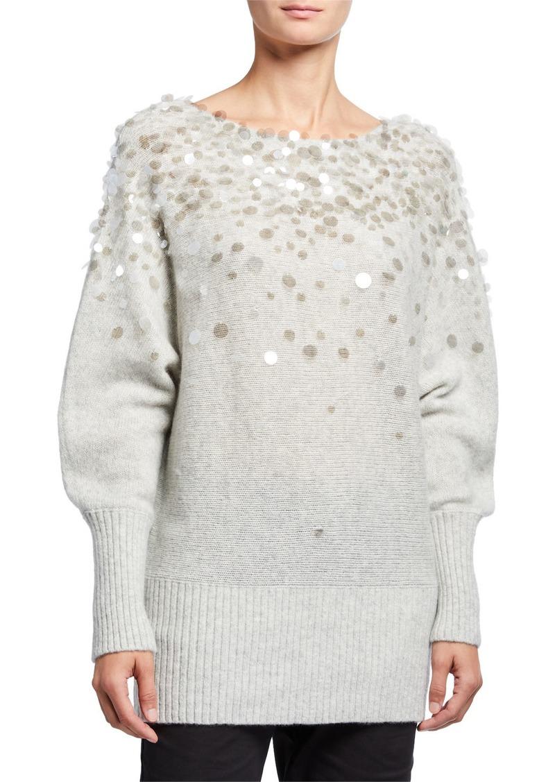 Lafayette 148 Dolman-Sleeve Brushed Cashmere-Silk Paillette Sweater