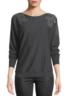 Lafayette 148 Dolman-Sleeve Merino Wool Sweater w/ Embroidery
