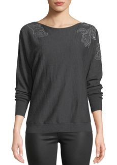 Lafayette 148 Dolman-Sleeve Merino Wool Sweater w/ Embroidery
