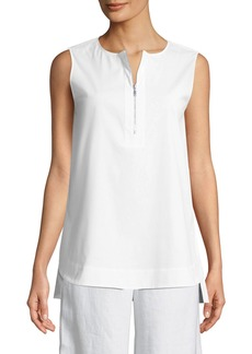 Donovan Sleeveless Zip-Front Poplin Blouse