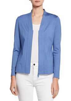 Lafayette 148 Double Front-Zip V-Neck Cardigan