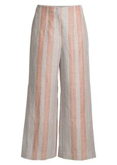 Lafayette 148 Downing Striped Linen Cropped Wide-Leg Pants