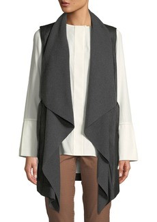 Lafayette 148 Draped Ribbon-Tie Leather & Wool-Blend Vest