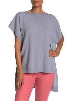 Lafayette 148 Short Sleeve High/Low Cashmere Sweater