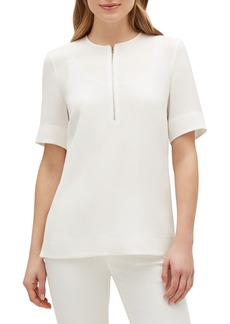 Lafayette 148 Durham Finesse Crepe Zip-Front Short-Sleeve Blouse