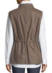 Lafayette 148 Edison Zip-Front Outerwear Vest w/ Flannel Back