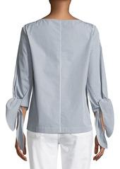 Lafayette 148 Elaina Bennet Stripe Tie-Sleeve Stretch-Cotton Blouse