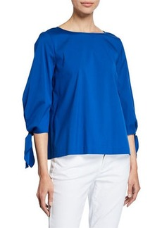 Lafayette 148 Elaina Tie-Sleeve Stretch-Cotton Blouse