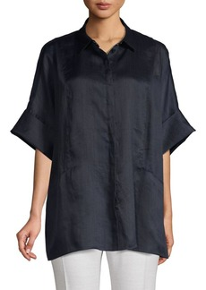 Lafayette 148 Elbow-Length Button-Down Shirt