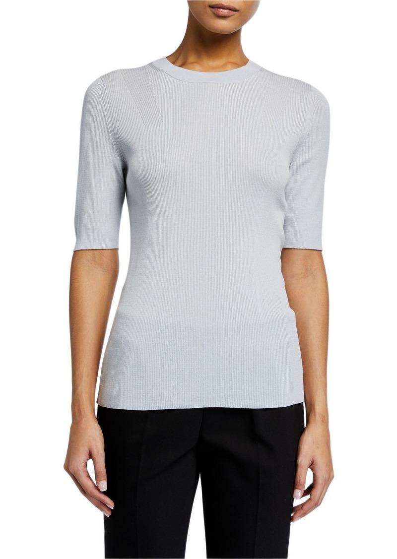 Lafayette 148 Elbow-Sleeve Skinny Rib Sweater