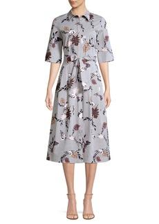 Lafayette 148 Eleni Stripe Floral Print A-Line Shirt Dress