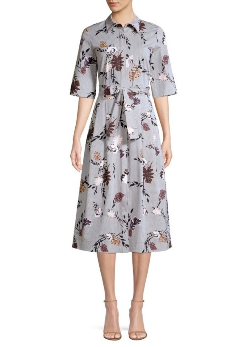 Lafayette 148 Eleni Stripe Floral Print A-Line Shirt Dress
