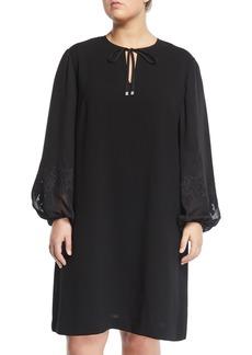 Lafayette 148 Eli Dress with Chiffon Lace Sleeves