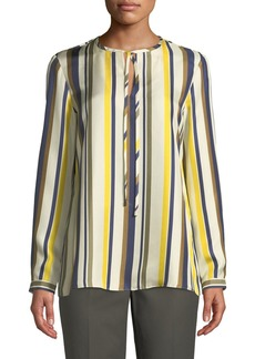 Lafayette 148 Eli Long-Sleeve Carnaby Stripe Silk Blouse