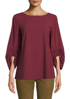 Lafayette 148 Elisio Boat-Neck Ruched-Sleeve Stretch-Wool Blouse