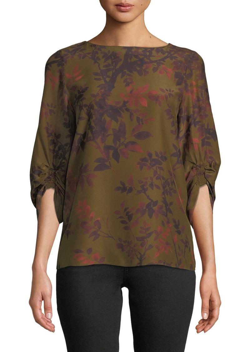 Lafayette 148 Elisio Floral Print Silk Blouse