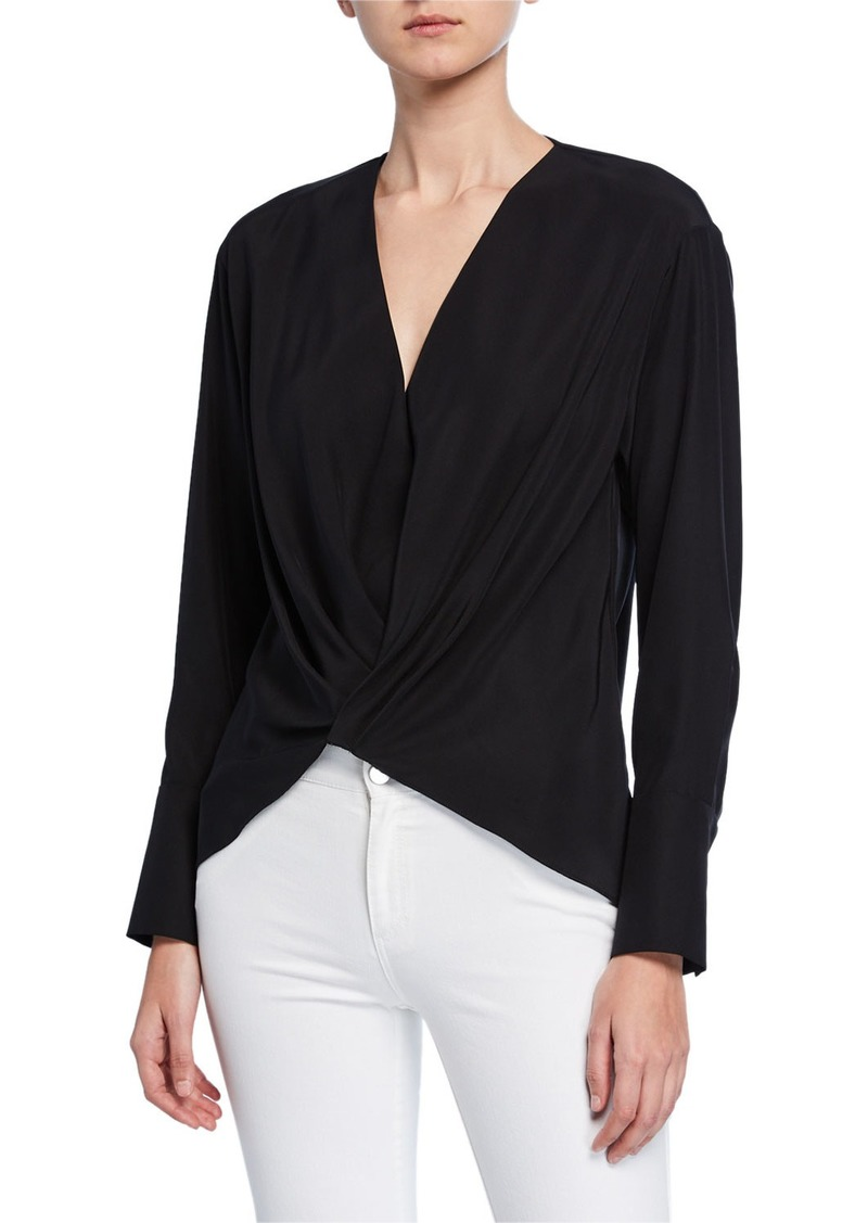Lafayette 148 Ellarose Long-Sleeve Twist-Front Matte Silk Blouse