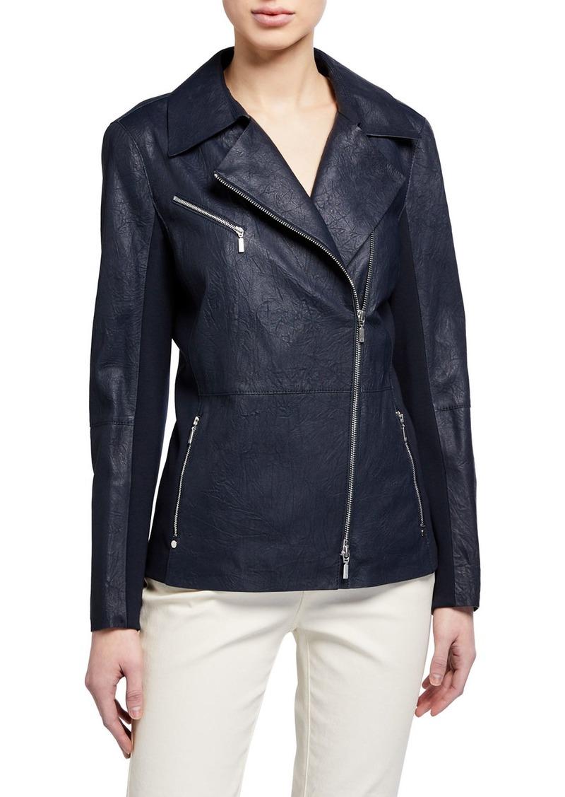 Lafayette 148 Elwood Zip-Front Weathered Lambskin Leather Moto Jacket w/ Ponte Combo