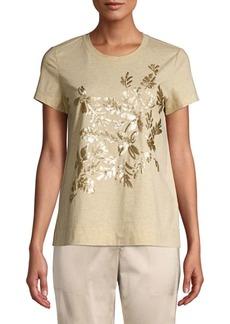 Lafayette 148 Embellished Melange Jersey T-Shirt
