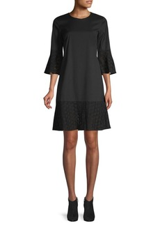 Lafayette 148 Embroidered Lace Bell-Sleeve Shift Dress