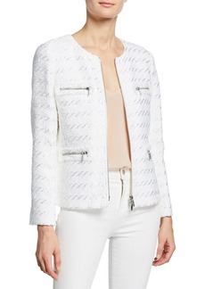 Lafayette 148 Emelyn Multi-Zipper Tweed Jacket