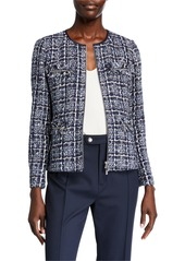 Lafayette 148 Emelyn Zip-Front Tweed Jacket