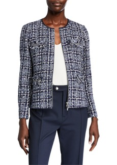 Lafayette 148 Emelyn Zip-Front Tweed Jacket