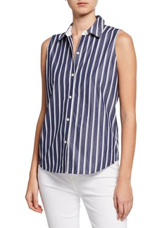 Lafayette 148 Emerie Regal Stripes Sleeveless Blouse