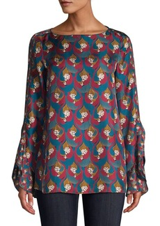 Lafayette 148 Emory Printed Silk Blouse