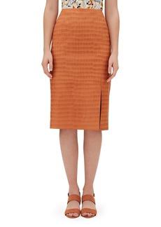 Lafayette 148 Esma Etched Croco Knee-Length Leather Skirt