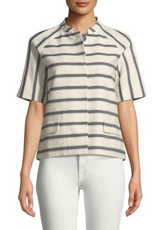 Lafayette 148 Ethan Half-Sleeve Snap-Front Striped Jacket