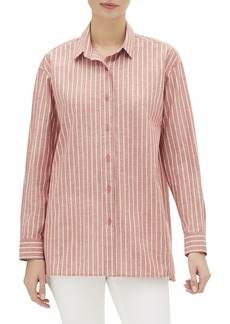 Lafayette 148 Everon Riviera-Stripe Button-Down Blouse