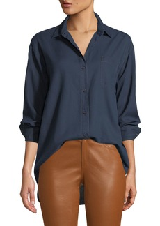Lafayette 148 Everson Nocturnal Cotton Pocket Blouse