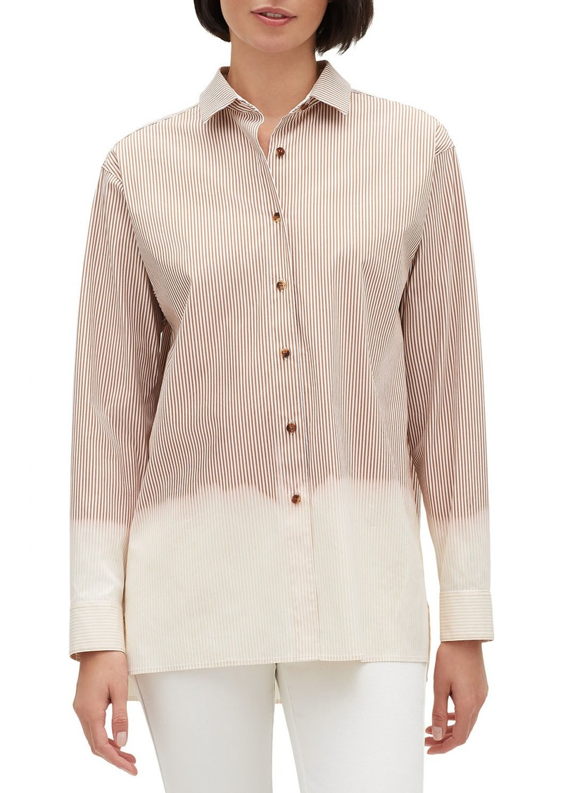 Lafayette 148 Everson Solo Melange Stripe Button-Front Long-Sleeve Blouse