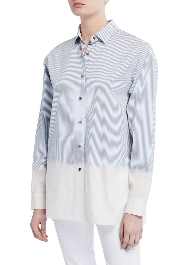 Lafayette 148 Everson Solo Melange Stripe Long-Sleeve Blouse