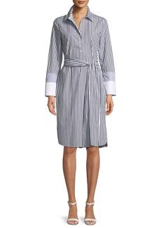 Lafayette 148 Fabiola Saxony Stripe Poplin Shirtdress
