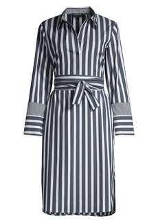 Lafayette 148 Fabiola Striped Knee-Length Shirtdress