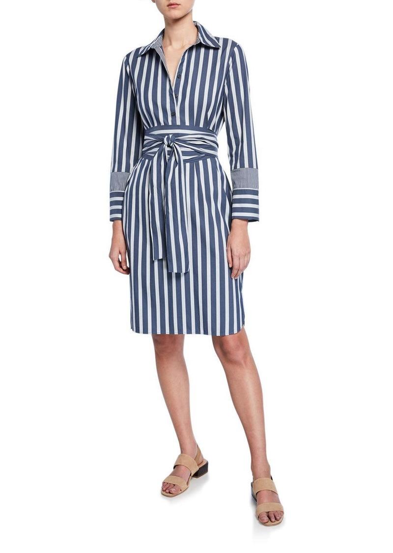 Lafayette 148 Fabiola Twilight Stripe Long-Sleeve Belted Dress