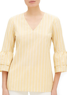Lafayette 148 Fabrice Sunbeam-Striped V-Neck Bell-Sleeve Blouse