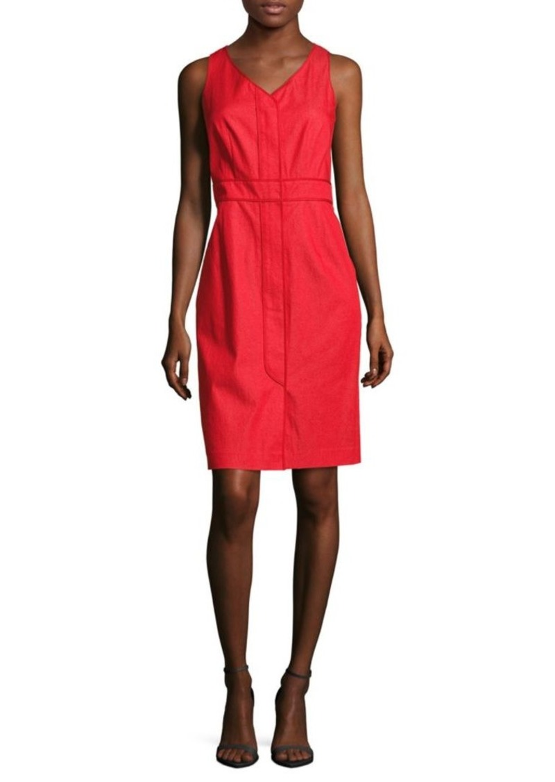 Lafayette 148 Farren V-Neck Front Zip Dress