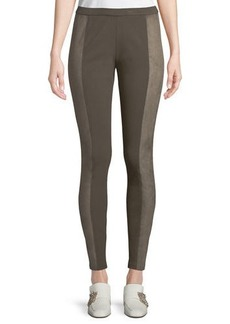 Lafayette 148 Faux-Suede Panel Leggings