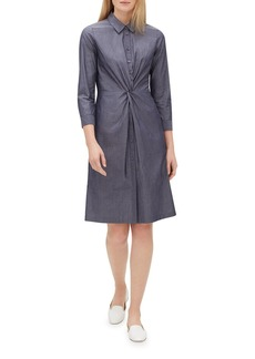 Lafayette 148 Federica 3/4-Sleeve Button-Front Avalon-Striped A-line Dress