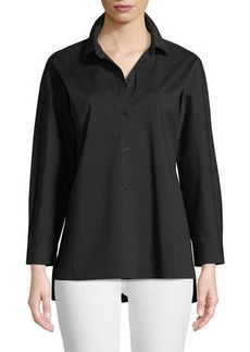 Lafayette 148 Felicity Italian Stretch-Cotton Blouse