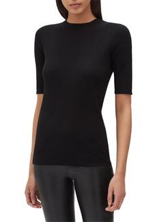 Lafayette 148 Fine Gauge Merino Skinny Rib Short-Sleeve Sweater