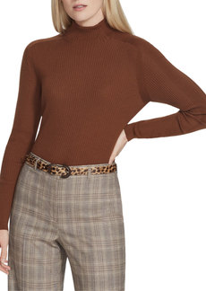 Lafayette 148 Fine Gauge Wool Ribbed Turtleneck Sweater
