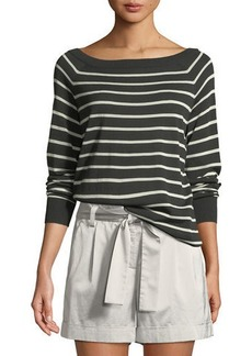 Lafayette 148 Fine-Spun Lightweight Striped Raglan Sweater